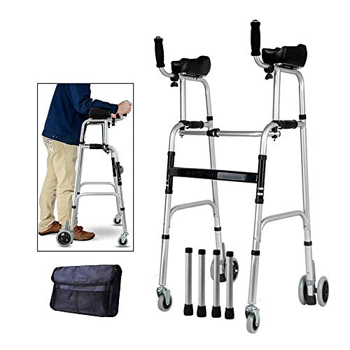 (Walking Frame,Wheel Walking Frame with Armrest Support Pad Thick Aluminum Alloy Rehabilitation Auxiliary Walking Frame Elderly Walking Aid Height Adjustable)