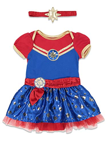 (Captain Marvel Girls Short Sleeve Costume Dress & Headband Superhero)