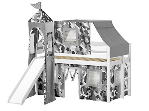 (JACKPOT! Castle Low Loft Bed with Slide Gray Camo Tent and Tower, Loft Bed, Twin, White)