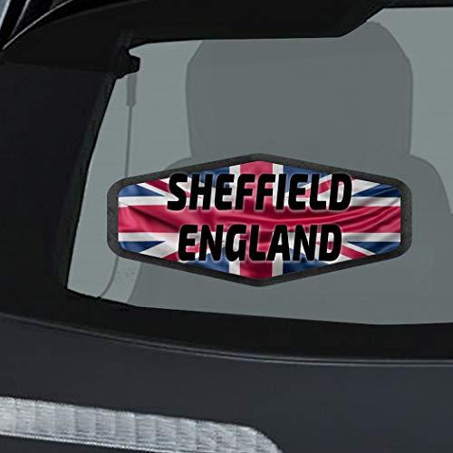 Makoroni - Sheffield England British, England, United Kingdom Flag Car Laptop Wall Sticker Decal - 3.5'by8'(Small) or 4.5'by10'(Large)