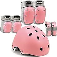 Purpol Kids Bike Helmet, Toddler Helmet Adjustable for Kids Youth, Knee Pads Elbow Pads Wrist Guards Kids Prot