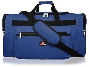 Bolsa de Viaje de Tamaño Medio Grande - Bolso de Viaje Ideal - Bolsas de Lona Negra Lisa - Múltiples Bolsillos - Capacidad de 50 litros - Medidas 55cm ...