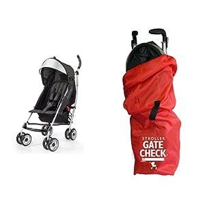 Summer Infant 3Dlite Convenience Stroller, Black & JL Childress Gate Check Bag for Umbrella Strollers, Red