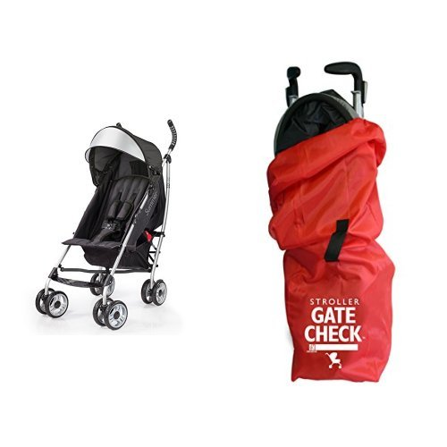 Summer Infant 3Dlite Convenience Stroller, Black & JL Childress Gate Check Bag for Umbrella Strollers, Red