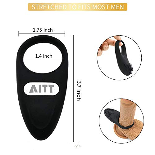 Movitip Cock Ring with Wireless Remote Control, Waterproof Rechargeable Penis Ring Vibrator - Sex Toy for Male or Couples (Black)