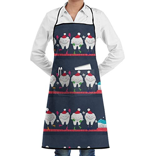 - JTLCBC Christmas Dentist Adjustable Bib Chef Pockets and Extra Long Ties, Kitchen Apron for Cooking Baking Crafting Gardening BBQ Gift