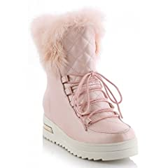 Women's Comfy Mid Wedge Heels Heighten Platform Faux Fur Lined Lace Up Ankle Snow Boots