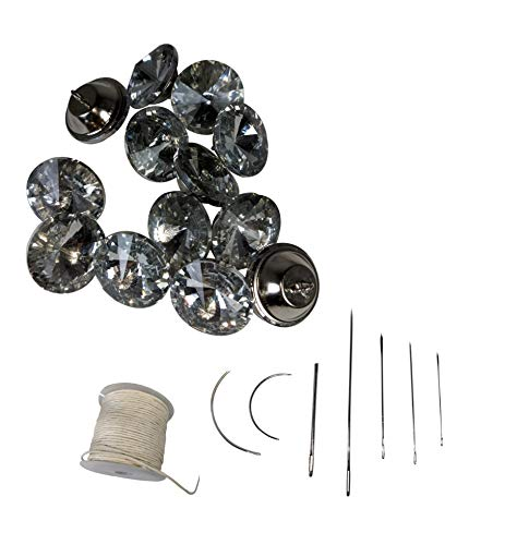 Complete Kit - Konak Buttons 50 Pcs 25mm 1 inch Diamond Buttons Glass Crystal Buttons with Upholstery Needles and Waxed Thread for Sewing Sofa Rhinestone Button with Metal Loop DIY Decoration Crafts (Rhinestone Upholstery Buttons)
