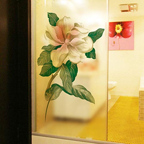 - HUABOS Self-Adhesive PVC Window Glass Frosted Film Flower Pattern Static Cling Removable Mural Decal Sticker Decoration for Bathroom Shower Door