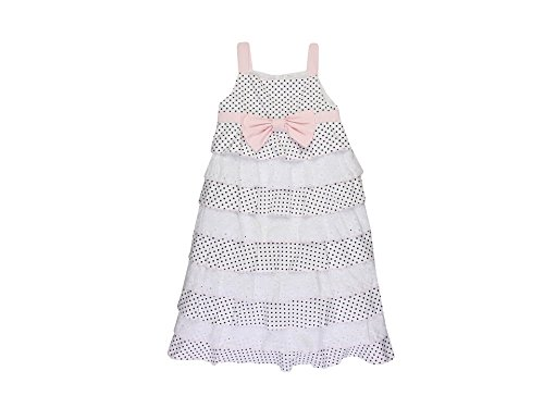 Biscotti Little Darling Girl's Black and White Polka Dot and Eyelet Dress - Size 10