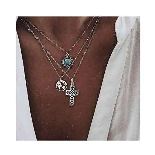- Campsis Silver Fashion Cross Chain Necklace Multi Layered Choker World's Map Necklaces Pendant Necklace Beach Jewelry for Women and Girls