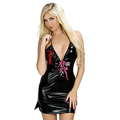 Aerusi Shiny Deep V Lace Up Dress Vibrant Patent Leather Halter Neck Clubwear