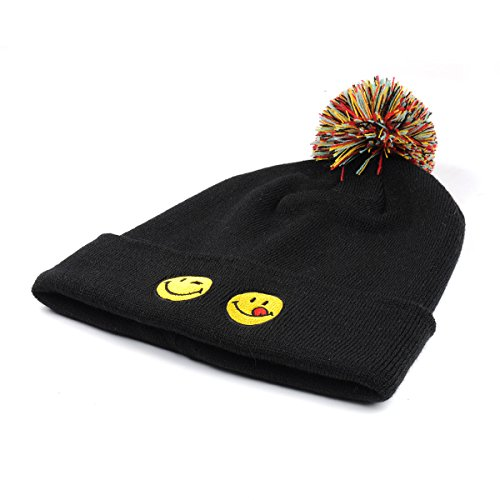 Emoji Smiley Beanie for Women Girls Men Pom Cuff Black Winter Slouchy Knit Hats - Unisex Daily Soft Stretch Warm Trendy Thick Hip Hop - Best for Sports, Outdoors, Hiking, Ski