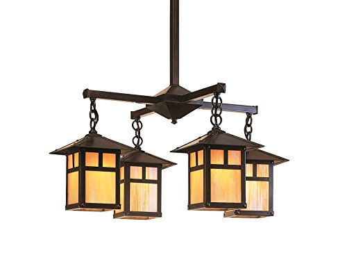 Arroyo Craftsman Evergreen 4 Light Chandelier with Classic Arch Overlay Rustic Brown Metal Finish, White Opalescent Glass, 7