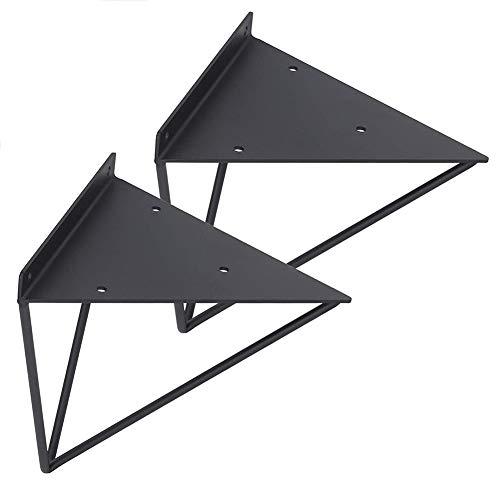 PCS 2 Soportes metalicos para estantes, Mesa solida de servicio pesado, Triangulo de 90 grados con marco de soporte de estante montado en la pared con tornillos, Negro