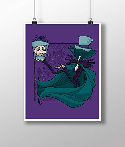 Disney's Haunted Mansion Hatbox Ghost and Jack Skellington Nightmare Before Christmas Mashup Medium 11x14