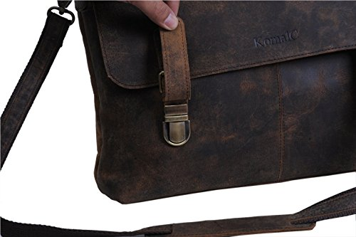 KomalC 15 Inch Retro Buffalo Hunter Leather Laptop Messenger Bag Office Briefcase College Bag by KomalC (Image #3)