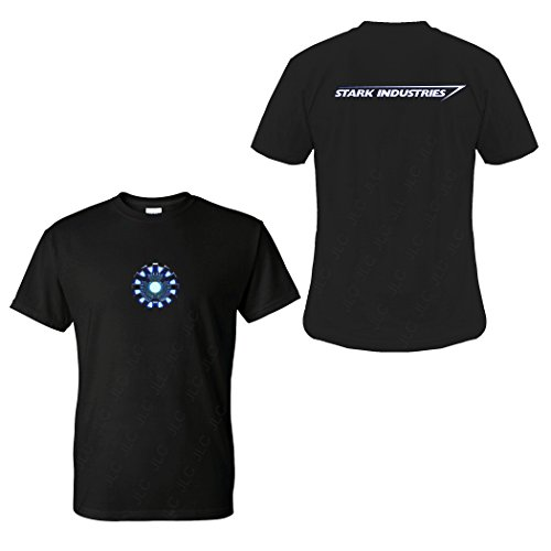 FIVE UP TEES Arc Reactor S Industries T-Shirt (L, Black)]()