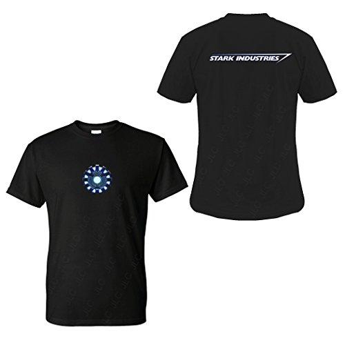 FIVE UP TEES Arc Reactor S Industries T-Shirt (L, Black)