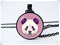 Panda necklace Purple pendant Gift for girls Panda jewelry