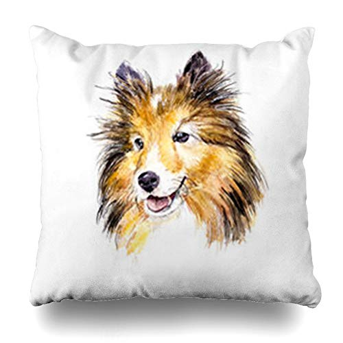 HomeOutlet Throw Pillow Cover Canine Brown Collie Sheltie Dog Watercolor Fluffy Wildlife Red Puppy Adorable Breed Lassie Pillowcase Square Size 20 x 20 Inches Home Decor Sofa Cushion Case