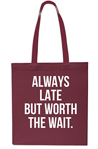x38cm Grey Bag Beach Gym Shopping 10 Tote Maroon Wait Late But litres The Always Worth 42cm RwAxS6Pwq