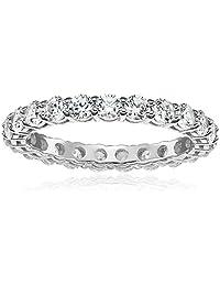 Platinum-Plated Sterling Silver Swarovski Zirconia 2 cttw Round All-Around Ring