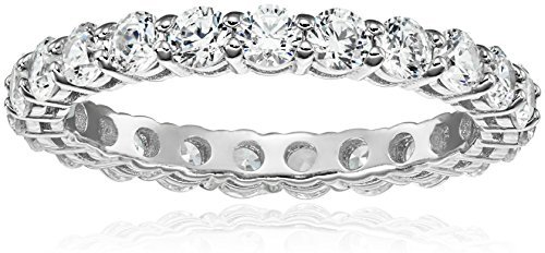(Platinum-Plated Sterling Silver All-Around Band Ring set with Round Swarovski Zirconia (2 cttw), Size 9)