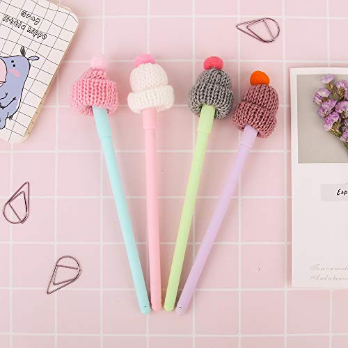 Colored 4 pcs Cute stocking hat with red bobble gel pen 0.5mm ballpoint Black color ink pen Office School supplies A6886 ()