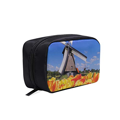 Tulips With Dutch Windmills Portable Travel Makeup Cosmetic Bags Organizer Multifunction Case Small Toiletry Bags For Women And Men Brushes Case