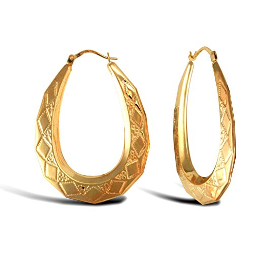 Boucles d'oreilles créoles or jaune 9carats Diamant Ovale
