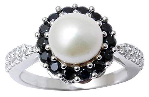 Faux Onyx Ring - Banithani 9.25 Pure Silver Black Onyx And Faux Pearl Finger Ring Women Fashion Jewelry-6