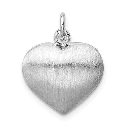Puffed Heart Plated (Sterling Silver Rhodium-plated Brushed Polished Reversible Puffed Heart Pendant)