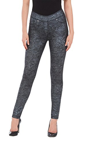 Metallic Print Jeans (LUXE DENIM SLIMS Metallic Print Jeggings Blk/Silver M)