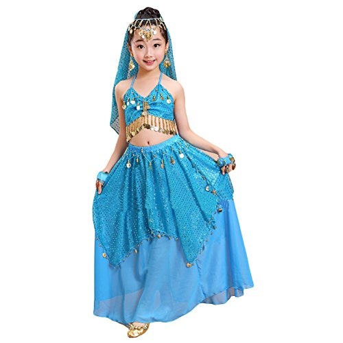[Girls Belly Dance Halter Top Dress Set Children Halloween Dance Costumes Outfit (S, lake blue)] (Ballroom Dance Costume For Kids)