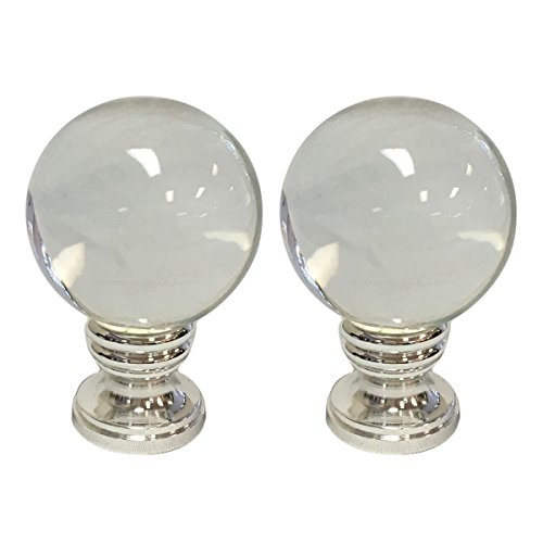 - Royal Designs Clear Crystal Ball Lamp Finial with Polished Silver Base - Set of 2