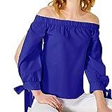 Hosamtel Women Fashion Shirt Off Shoulder Bow Bandage Long Sleeve Elegant Casual T-Shirt Blouse Tops