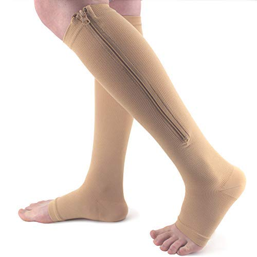Ailaka Medical Zipper Compression Calf Socks 15-20 mmHg for Women and Men, Knee Length Open Toe Firm Support Graduated Varicose Veins Hosiery for Edema, Swollen, Nurses, Pregnancy, ()