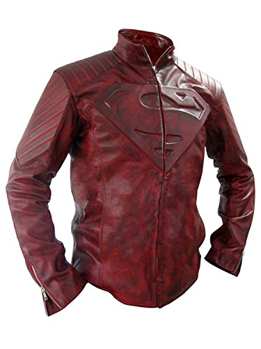 Smallville Superman Jacket - Mens Slim Fit Distressed Leather Red Motorcycle Jacket (XL, Distress (Distress Leather Jacket)