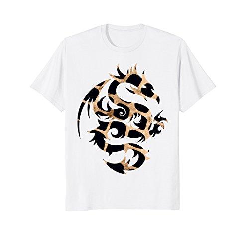 Tribal Dragon T-Shirt black gold Art Design (White Gold Dragon Shirt)