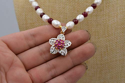 White akoya Cultured Pearl Garnet Ruby Necklace Crystal Pendant Plum Flower 18