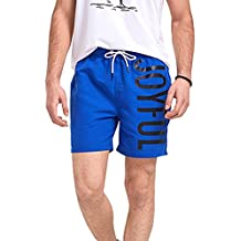 ME-JUCA Men's Pure&Letters Printed Breathable Boardshorts Loose Boxers