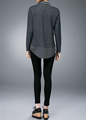 pour Simple Plaids 2 noir Grande et blouse Chic 1 Femme blanc gris Taille Carreaux en Et Style Luna Margarita Blouse Shirts Printemps w4ZC0CxqO