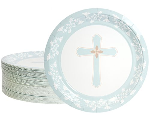 Disposable Plates - 80-Count Paper Plates, Religious Party Supplies for Appetizer, Lunch, Dinner, and Dessert, 9 Inches in Diameter]()