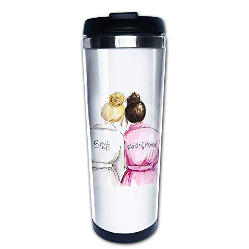 Hasdon-Hill Funny Travel Mugs for Women Men Bride with Maid of Honor Coffee Mug, Stainless Steel Mug for Bridesmaid Bridal Showers Bride Gifts 12 Oz