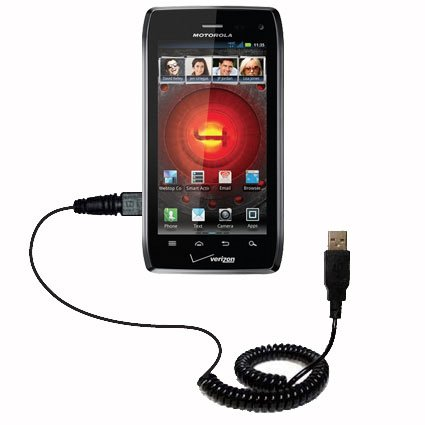 Coiled USB Cable compatible with the Motorola DROID 4 / XT894