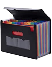 24 Pockets Expanding File Folder/Accordian File Organizer with Expandable Cover/Portable A4 Letter Size File Box,High Capacity Plastic Colored Paper Document Receipt Organizer Filing Folder Organizer