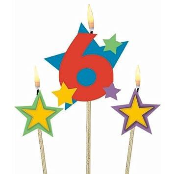 3 Cumpleaños velas estrellas Número 6