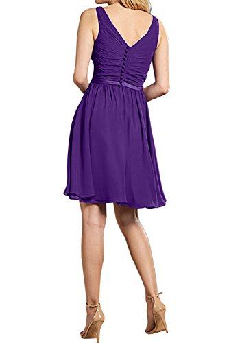 Abschlusskleider Abendkleider Ivydressing Neu Band Partykleider Cocktailkleider Suess V 2017 Neck Kurz Schokolade Violett Falte Chiffon qqR7OxnS