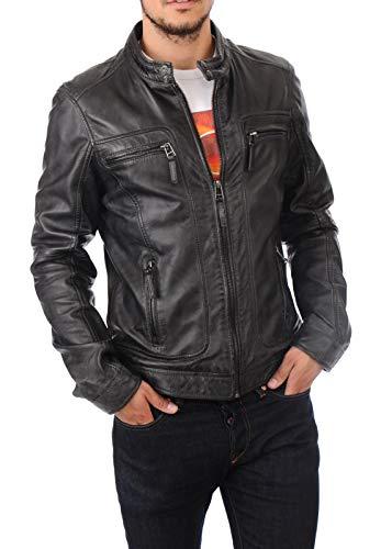 King Leathers Men's Real Lambskin Genuine Leather Jacket Biker Motorcycle Stylish Urban Leather Jacket MJ724 Black